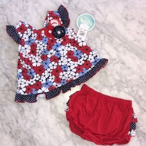 NWT BABY 2 PIECE OUTFIT RED, WHITE, BLUE SIZE 12 M
